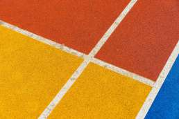 Yellow, orange, and blue painted wall