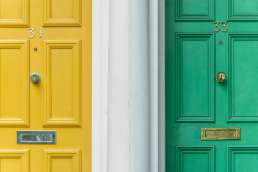 Yellow and green doors