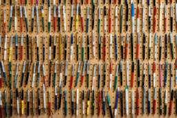 Pens on peg board