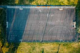 Birdseye view of basketball court outside