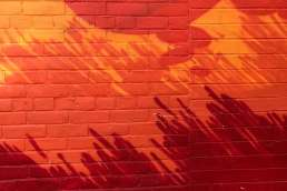 Orange brick wall with shadows on it