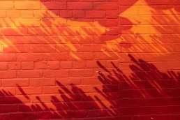 Orange brick wall with shadows on it