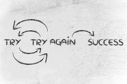 Graphic describing trying, trying again, and then success