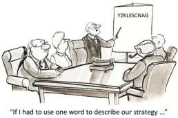 Cartoon of men discussing strategy