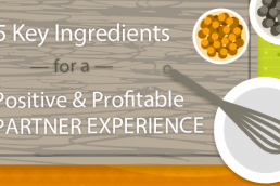 Graphic of cooking describing 5 Key Ingredients for a Positive and Profitable and Positive Partner Experience