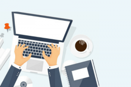 Illustrated graphic of man typing on laptop with coffee, rolled up papers, and a notebook