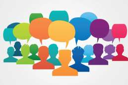 Rainbow colored illustrated graphics of people with speech bubbles