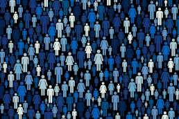 White and shades of blue graphics of men and women covering black background