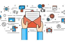 Graphic of hands opening letter with multiple other graphics conveying information sharing surrounding it
