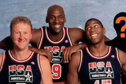 3 basketball players with cutout of a missing player