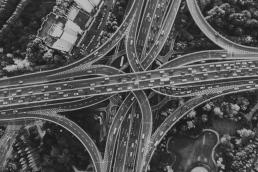 Birdseye view of interstates overlapping