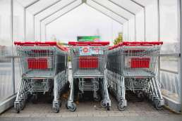 Shopping carts lined up in return shelter