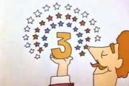 Cartoon man holding number 3 surrounded by stars