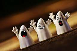 Three ghosts with silly faces