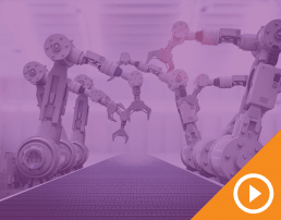 Conveyor belt with robotic claw arms behind a purple transparency with a white play button on an orange triangle in the bottom right corner