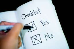 Check list with boxes where the word yes is checked and the word no is crossed out