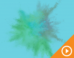 Exploding chalk behind a blue transparency with a play button against an orange triangle in the bottom right corner.