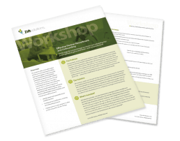 Papers discussing workshop on effective partner recruitment and onboarding