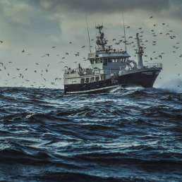 Ship on ocean surrounded by flying birds