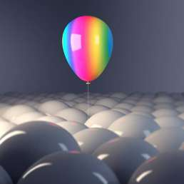 Rainbow Balloon Standing Out From The Crowd