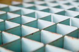 Close up photo of metal grid