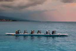 Team of rowers in a boat