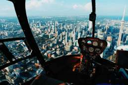 Pilot's view over a city